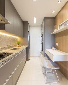Cozinha compacta e super estilosa e funcional .. Projeto: Juliana agner Kitchen Room Design, Kitchen Nook, Kitchen Cabinetry, Modern Kitchen Design, Interior Design Kitchen, Kitchen Decor, Small Galley Kitchens, Bathroom Design Inspiration, Home Decor Furniture