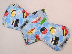 "12.5"" Regular - Blue Sushi - Reusable Cloth Menstrual Pad (12MC)"