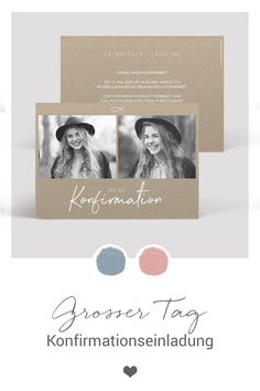 """Confirmation invitation """"Big Day"""" - Less is more: let pictures speak and invite friends and family with modern stationery in a reduced design. A small fish as a Christian symbol adorns the design, with the focus on your child 's photos Big Day design Printable Wedding Invitations, Wedding Invitation Design, Invitation Wording, Invitation Cards, Romantic Wedding Stationery, Moving On Tattoos, Decoration Gris, Wedding Destination, Marie"""