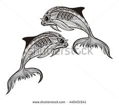 Fish Hand Drawn Patterned And Tattoo Vector Illustrationfish Zentangle Dolphin Sketch For Sea