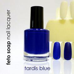 Tardis+Blue+Dr.+Who+Amy+Pond+Nail+Polish+by+fetosoap+on+Etsy,+$8.00