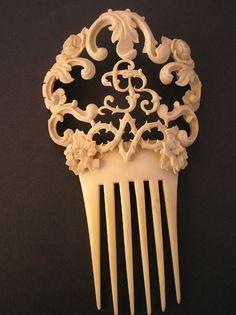 Monogrammed 19th century haircomb in ivory.  (GJB monogram)