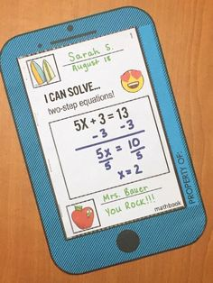 Two-Step Equations Activity - Mathbook Teaching Secondary, Secondary Math, Teaching Math, Teaching Ideas, Math 8, Seventh Grade Math, Two Step Equations, Solving Equations, Math Classroom