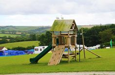 Outdoor play facilities at Meadow Lakes, check out the two sea gulls perching on top of the slide!