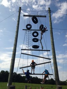 Working together on the high ropes course! #teamwork #highropes #success #funinfrench