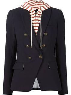 built-in striped hoodie blazer