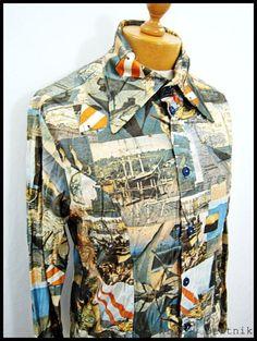 Vintage 1980s 80s POSTMODERN STARS Photo Pattern Indie Disco Shirt Large | eBay