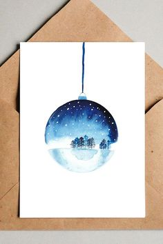 Christmascard snow globe, print of handmade christmas card with winter wonderlan. - Christmascard snow globe, print of handmade christmas card with winter wonderland in christmas baub - Painted Christmas Cards, Watercolor Christmas Cards, Christmas Drawing, Diy Christmas Cards, Christmas Paintings, Watercolor Cards, Xmas Cards, Christmas Art, Watercolor Illustration