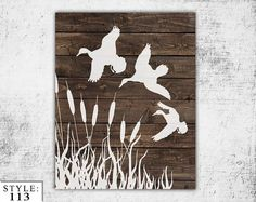 "Wooden Ducks Sign, 11""x14"", Home Decor, Outdoors Hunting, Home Gift, Duck Silhouette, Handmade, Deer Head, Hunter, Ducks, Wall Decor"