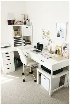 Mesa Home Office, Home Office Desks, Home Office Furniture, Furniture Ideas, Furniture Design, Corner Furniture, Ikea Office, Workspace Design, Furniture Movers