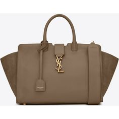 Saint Laurent Small MONOGRAM SAINT LAURENT DOWNTOWN CABAS YSL Bag in... ($2,490) ❤ liked on Polyvore featuring bags, handbags, brown purse, brown suede handbag, handbags totes, brown leather tote bag and leather tote purse