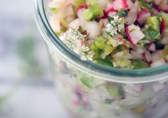 Radish and Green Tomato Salsa 1 cup chopped green tomatoes 1 cup diced radishes 1 - 2 jalapenos (seeded and minced) medium white onion (finely chopped) teaspoon minced garlic teaspoon finely chopped cilantro 1 lime (juiced) splash unr Green Tomato Salsa, Green Tomatoes, Healthy Snacks, Healthy Eating, Healthy Recipes, Delicious Recipes, Easy Recipes, Beetroot Relish, Sauces