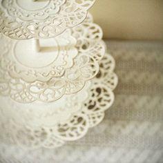 Vintage 3-tier Lace Dessert Stand ~ via http://www.etsy.com/shop/teaspoonvintageshop