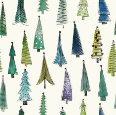 Watercolor Christmas Trees seamless vector set                                                                                                                                                                                 More