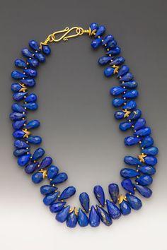 Intermezzo: Intensely blue and accented by golden pyrite inclusions, each large… Lapis Lazuli Jewelry, Gemstone Jewelry, Beaded Jewelry, Beaded Necklace, Turquesa E Coral, Maxi Collar, Semi Precious Beads, Ancient Jewelry, Schmuck Design