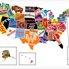 """Check out this """"Fast Food Map by State"""" designed by Thrillist. They mapped out what they consider to be the most """"iconic"""" fast food chain from each state. U.s. States, United States, Maid Rite, Recipe Icon, Food Map, Fast Healthy Meals, Healthy Eating, Eating Fast, Artists"""