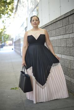plus size colorblocked maxi dress in cream, black, and blush