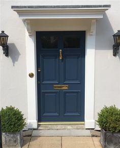 Front Door Color by Farrow & Ball Stiffkey Blue - Masonry paint color is Ammonite - 274 Exterior Masonry Paint, House Paint Exterior, Exterior House Colors, Exterior Doors, Entry Doors, Front Entry, Front Door Farrow And Ball, House Front Door, House Doors