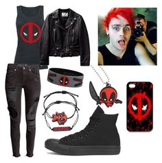 """""""Deadpool premier w/ Michael Clifford"""" by mikeimoo ❤ liked on Polyvore featuring Converse"""