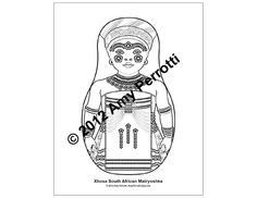 Xhosa South African Matryoshka Coloring sheet PDF by AmyPerrotti, $1.00 Party Activities, Activities For Kids, Xhosa, Cultural Identity, Coloring Sheets, African, Pdf, Printables, Illustration