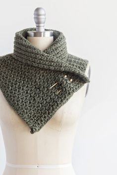 Knit Balsam Green Scarf with Bamboo Pins  34 onches long and 9 inches wide