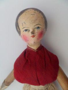 Large Grodnertal Wooden Doll c1850