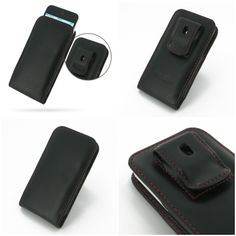 PDair Leather Case for Apple iPhone 5c - Vertical Pouch Type Belt Clip Included (Black/Red Stitch)