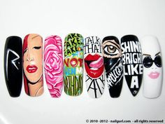 Rihanna X Nail Art - My worlds collide Get Nails, Dope Nails, Fancy Nails, Swag Nails, How To Do Nails, Pretty Nails, Hair And Nails, Different Nail Designs, Colorful Nail Designs