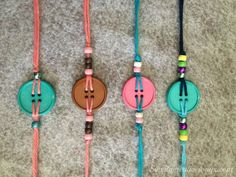 DIY Button Bracelets are easy to make. They will be great party favors for a Lalaloopsy Party, or Sewing Parties, friendship bracelets and so much more. Kids Jewelry, Jewelry Crafts, Handmade Jewelry, Jewelry Making, Button Art, Button Crafts, Cute Crafts, Yarn Crafts, Kids Crafts