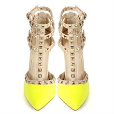 Yellow Pointed Toe T-Strap Pumps Pyramid Studs (2,980 DOP) ❤ liked on Polyvore featuring shoes and pumps
