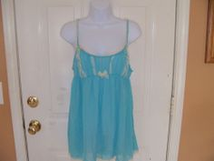 Victoria's Secret Baby Blue W/Lace Sheer  Teddy w/bottoms Lingerie Size L  NEW #VictoriasSecret