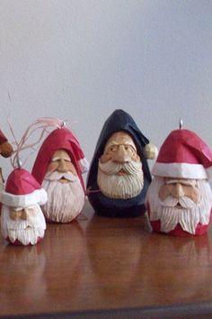 Santa head ornament by BowmanWoodcarvings on Etsy, $20.00