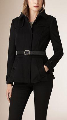 Black Wool Cashmere Peplum Trench Jacket - Image 1