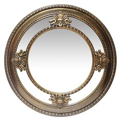 The Infinity Instruments Versailles Round Wall Mirror - x in. enchants with raised, ornate emblems and a rich, sophisticated finish. Gold Wall Decor, Gold Wall Art, Rustic Wall Mirrors, Hallway Mirror, Round Wall Mirror, Wall Mounted Mirror, Mirror House, Mirror Bedroom, Bathroom Mirrors