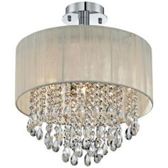 Antique Ivory Shade and Crystal Semi-Flush Ceiling Light -