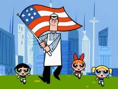 The Professor and the Girls waving the flag during freedom beef!