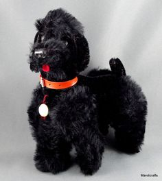 Hermann Teddy Original Poodle Black Mohair Plush ID Swing Tag 20 cm c1960s Vtg
