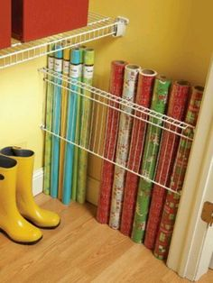 This is such a great idea for storing your wrapping paper-it keeps it all in one place so there's no more digging in dark closets!
