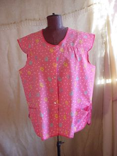 Artistic Creations Full Apron Smock with Pockets Pink size Large 2X snap front  Seller florasgarden on ebay
