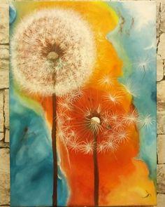 Acrylic painting dandelion Duygu Onur