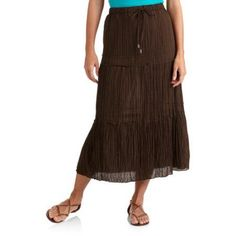 Faded Glory Women's Crinkle Tier Skirt, Brown