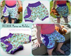 Freebook Marina ist eine pumpige kurze Hose für Kinder. Du kannst sie aus sowohl aus Jersey, wie auch nicht elastischen Stoffen nähen.