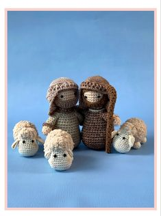 The shepards and their cute little sheep are part of the Woolytoons nativity scene. The Donkey, The Shepherd, Christmas Nativity, Photo Tutorial, Pet Store, Sheep, Ravelry, Crochet Patterns, Teddy Bear