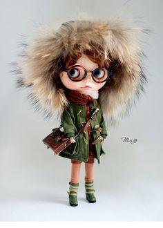 Slečna yo Fluffy Winter Coat pro panenku Blythe - panenka - Zelená