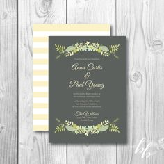 Sweet Floral Wedding Invitations  Yellow by BeautifullyBevilled