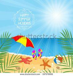 Summer holiday background tropical sand beach flip flops life starfish