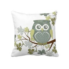 Polka Dot Owl in Tree Throw Pillow