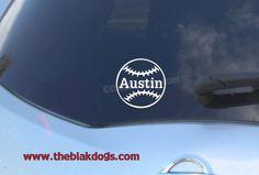 Baseball Softball Ball Custom Name Vinyl Sticker Car by blakdogs, $6.00