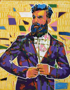 """set a plumbline"" 150 x 120 cm South African Artists, Purple Yellow, Portrait Art, Painting, Fictional Characters, Painting Art, Paintings, Fantasy Characters"
