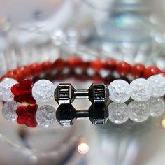 X-MOMO / Náramok FIT- čierna činka - praskaný krištáľ, červený korál Minerals, Wedding Rings, Engagement Rings, Fitness, Jewelry, Enagement Rings, Jewlery, Jewerly, Schmuck